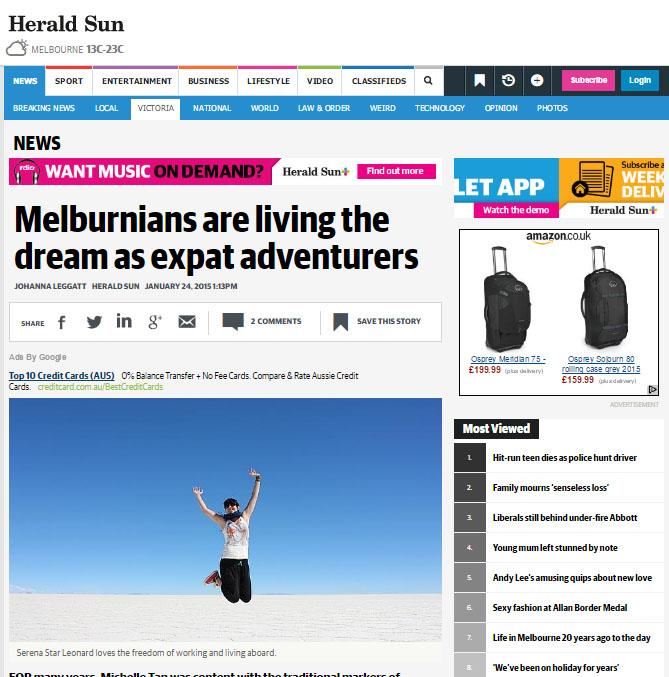 Herald Sun - Melburnians are living the Dream as Expat Adventurers