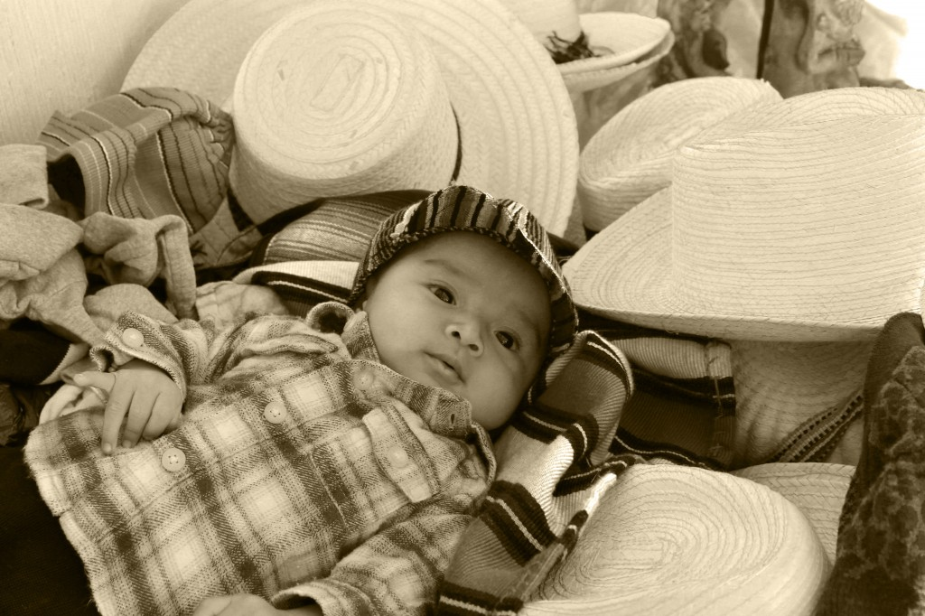 Baby in the hat stall