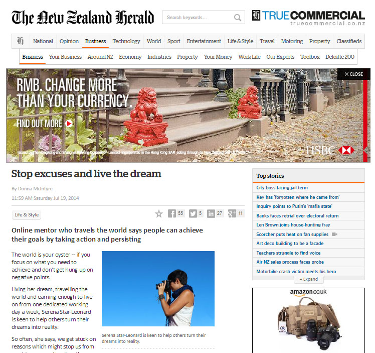 New Zealand Herald: Stop the Excuses and Live The Dream