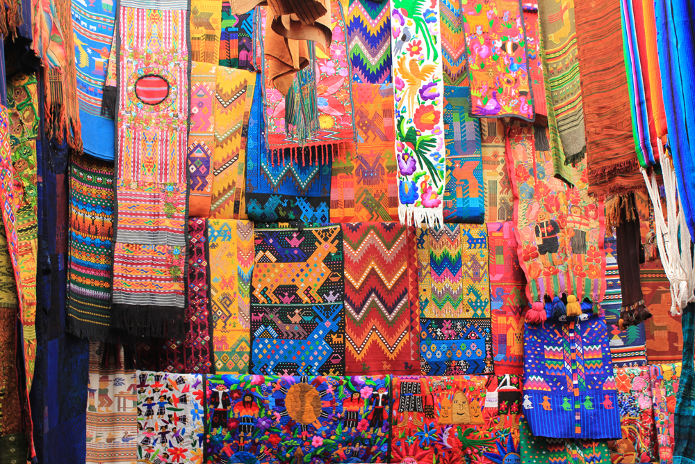 Gorgeous fabric at Chichicastenango Market