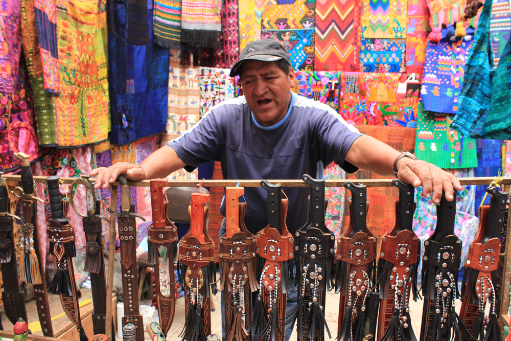 A Chichicastenango market stall
