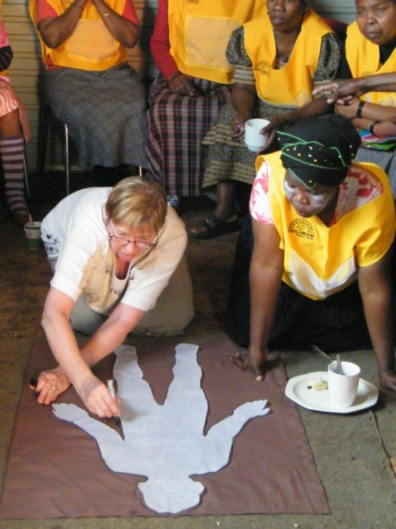 Fabric Body Tracing with Sister Loubser, the facilitator