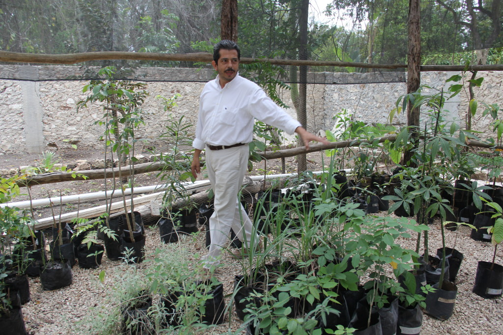 Virgilio Gomez in the community botanical garden
