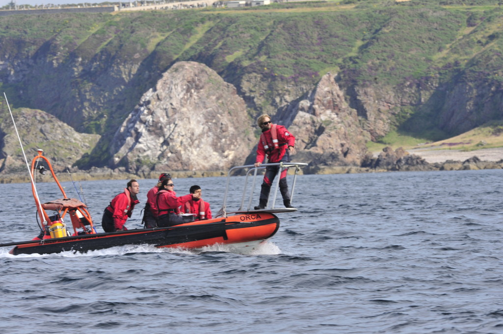 Philip with the dolphin research team from the Cetacean Research and Rescue Unit in Scotland