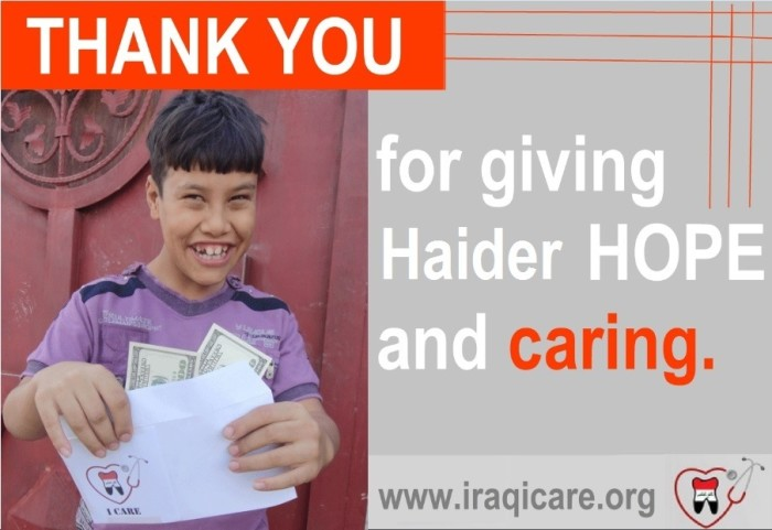 Thank You for giving Haider hope