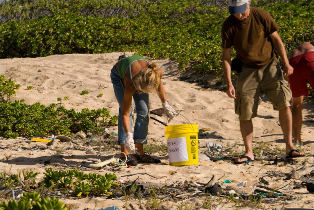 Beach clean up in Hawaii. Image by Rita Savage