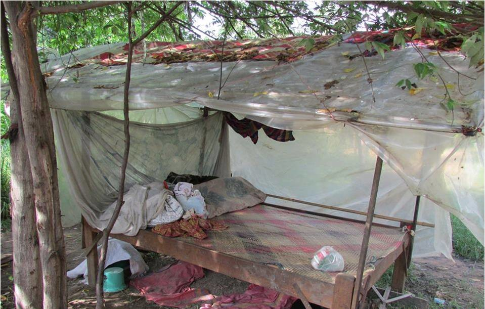 An 8yo girl and her grandmother live here. They have a bed but no home!