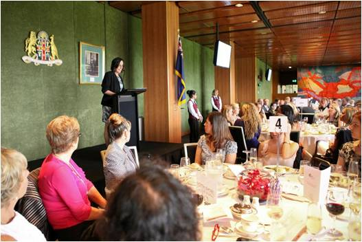 Catherine addressing the audience at NSW Parliament House, during Postnatal Depression Awareness Week