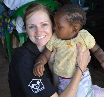 Dalice with one of the visitors at a medical clinic in rural Kenya in 2011