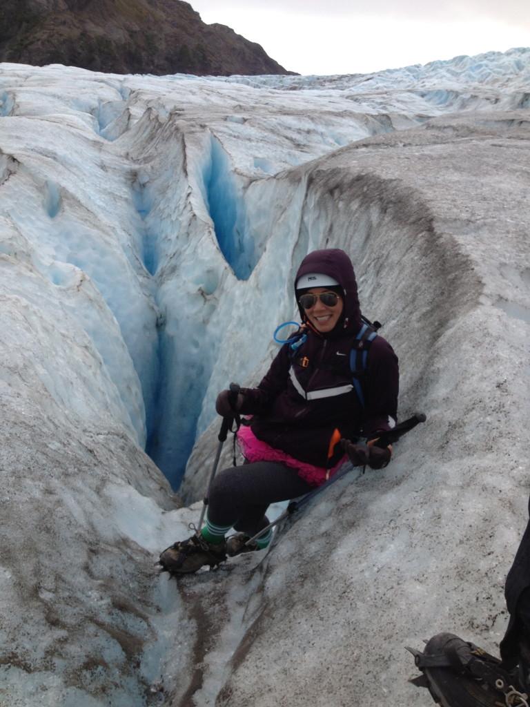 Angela climbing Exit Glacier in Alaska