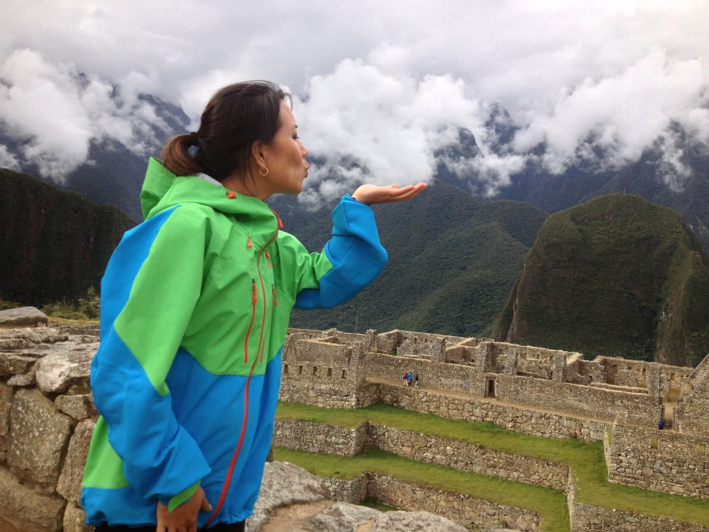 Cloud kisses at 11,000 ft. from the ancient Incan ruins of Machu Picchu