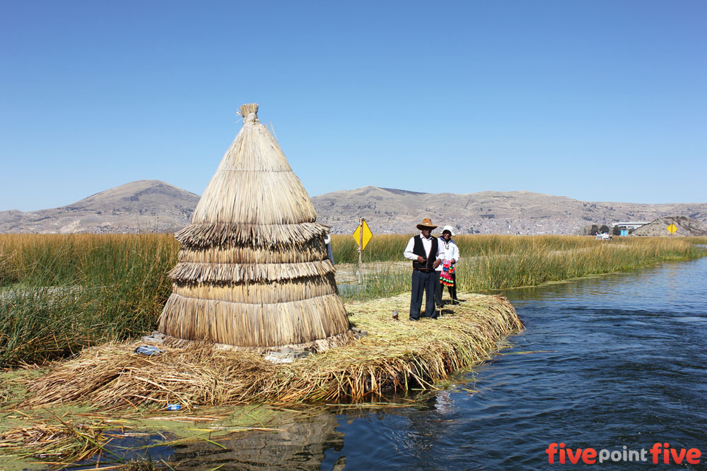 A toll booth on the way into the floating Islands of Uros