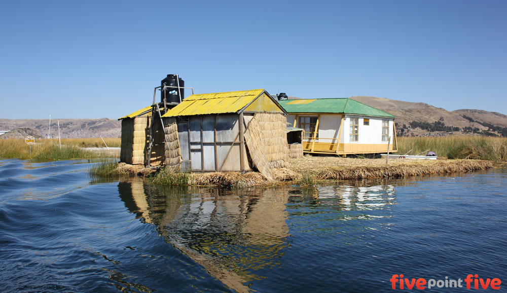 One of many homes on the floating Islands of Uros