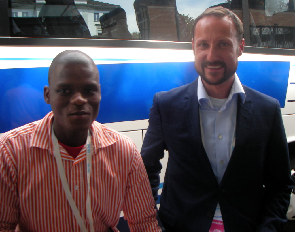 Khethelo with HRH Prince Haakon of Norway, visiting schools in Zurich