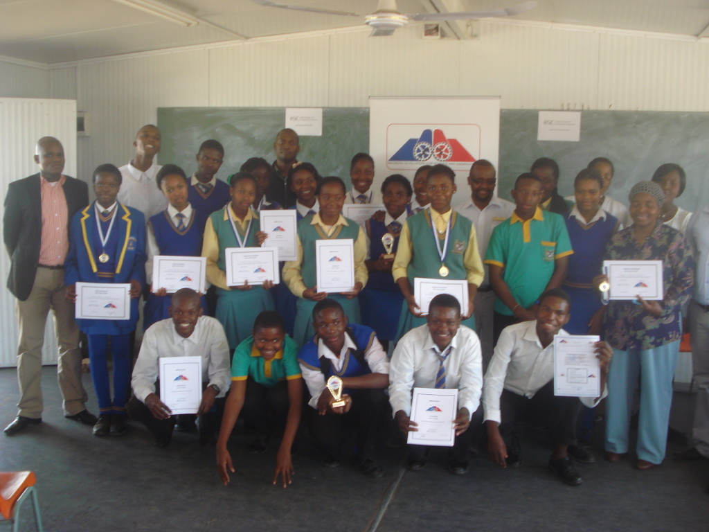 Students from five high schools in Mpumalanga province who have been awarded certificates.