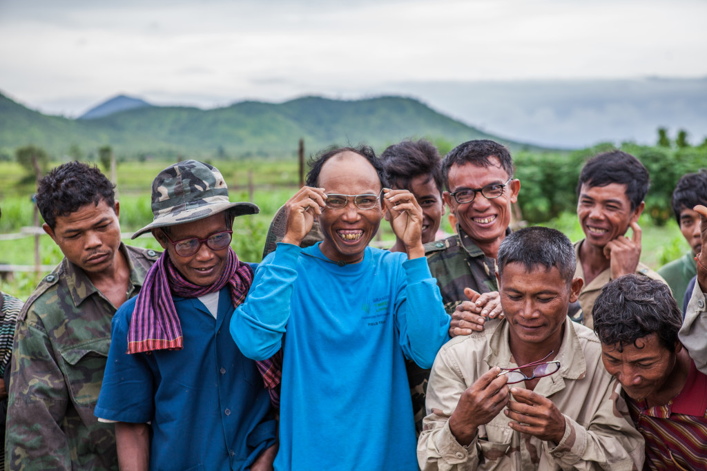 Rural villagers being able to see clearly for the first time thanks to the Operation Nightingale program. Photo credit: Paul Pichugin photography.
