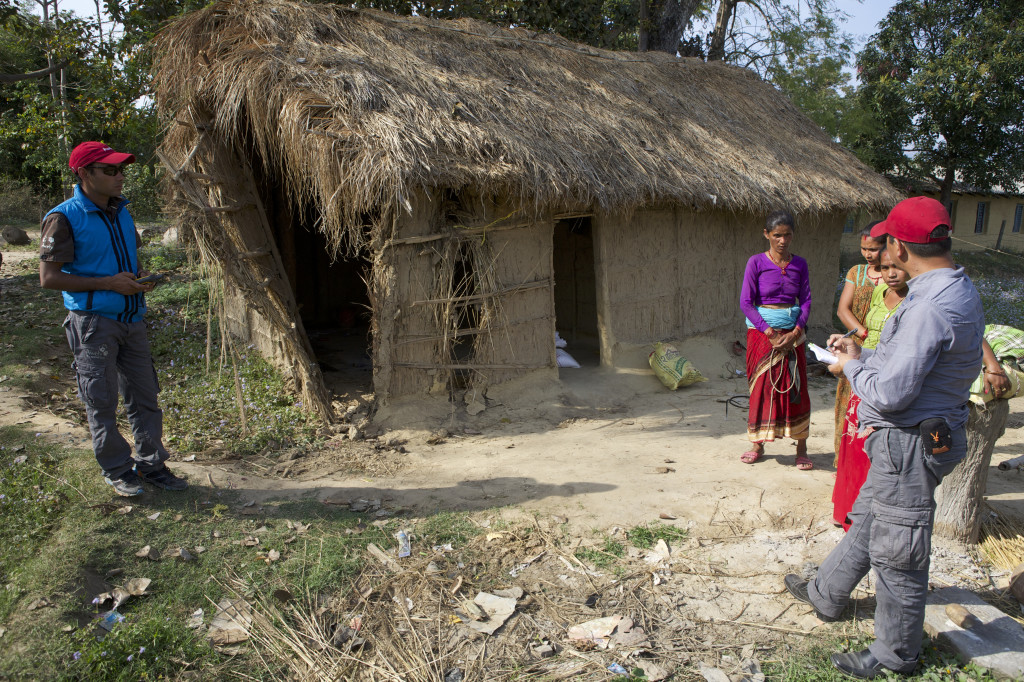 Our Red Caps in Nepal doing a post Human-Wildlife conflict investigation. A house was partly destroyed by an elephant during the night. ©Awely