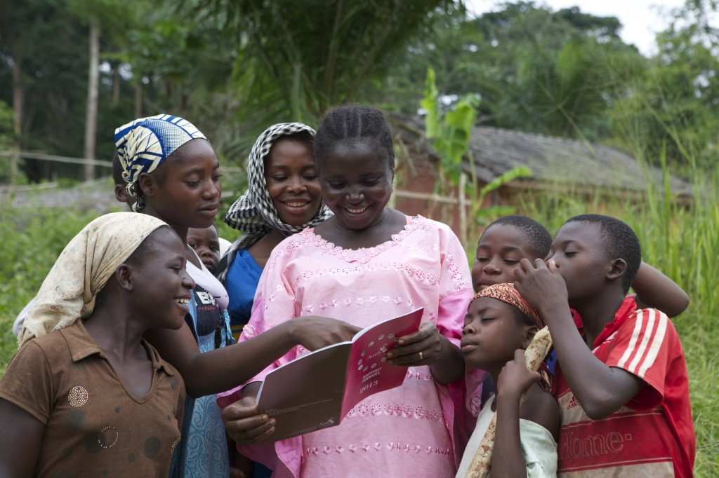 Some women from a village reading our report in Cameroon ©Awely