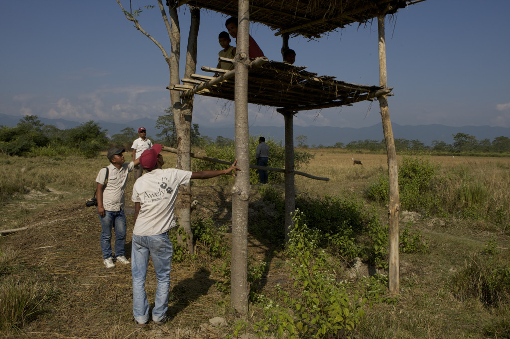 Our Red Caps in India checking an observation tower. Villagers spend the nights in these towers to protect their fields when elephants come to eat the crops. Photo credit: Awely