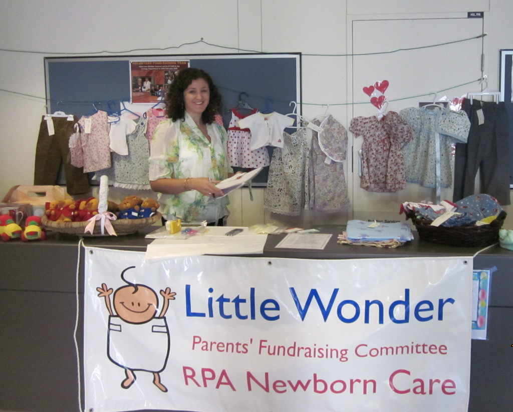 Rebecca manning the Little Wonder fundraising stall.