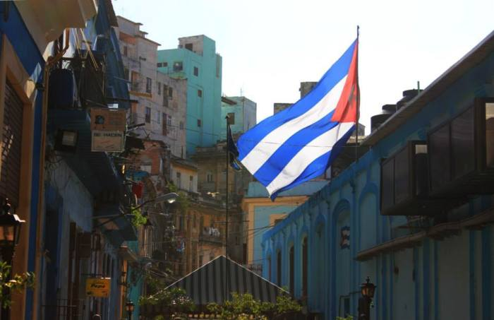 The Cuban flag flying high and proud in downtown Havana