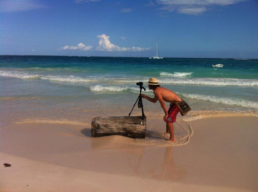 Working hard on a beach in Tulum