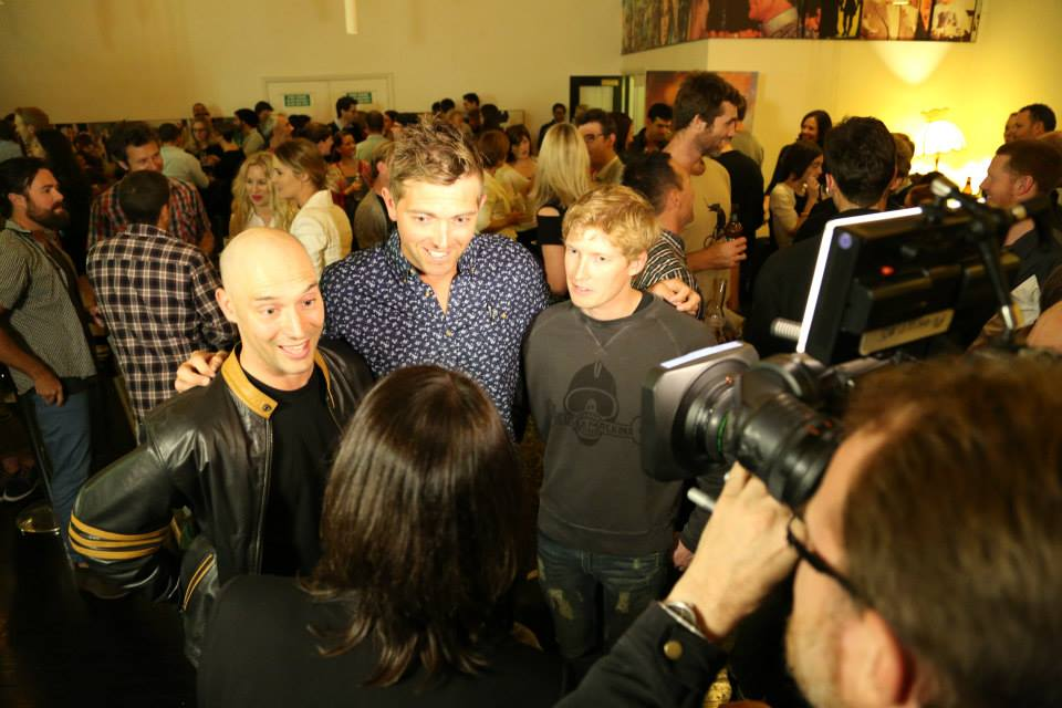 Being interviewed by the ABC's 7:30 Report at the 3mates7seas launch in Sydney. Photo credit: Loosie Craig