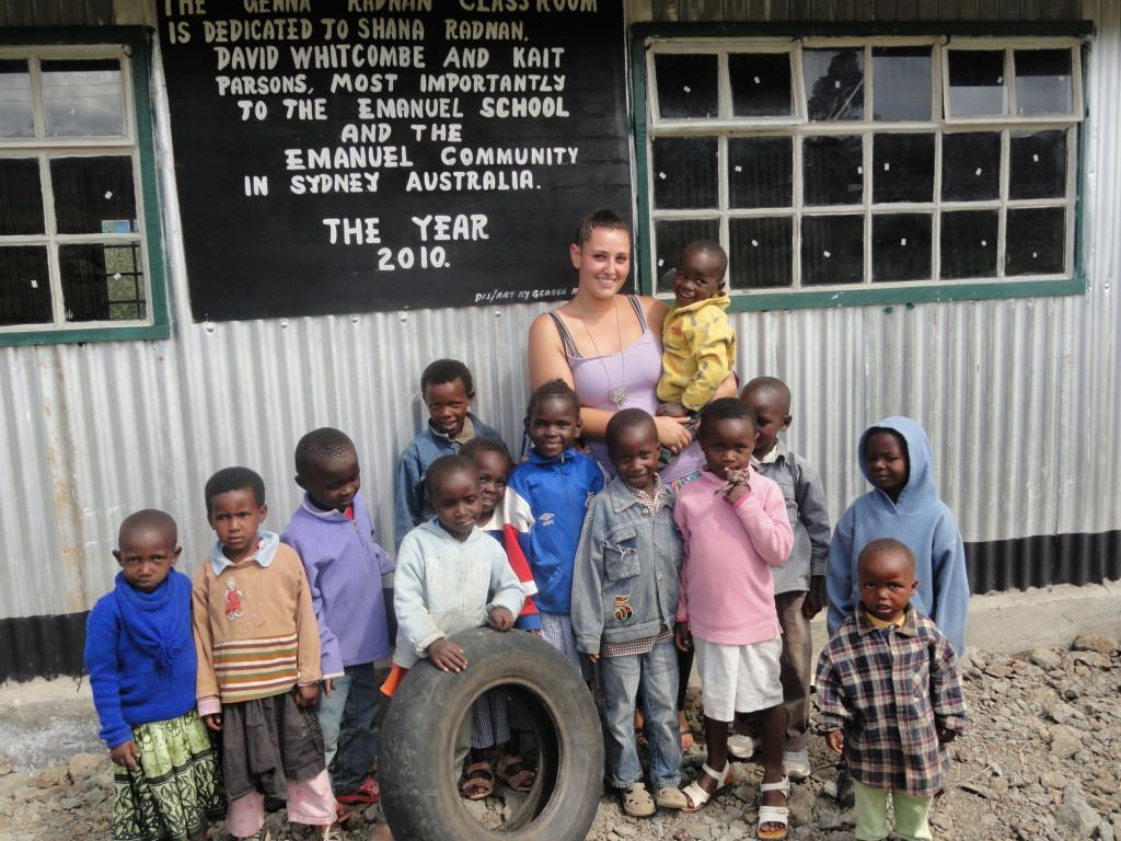 Karunga's Emanuel Kindergarten students with Genna, after the kindergarten was built in October 2010.
