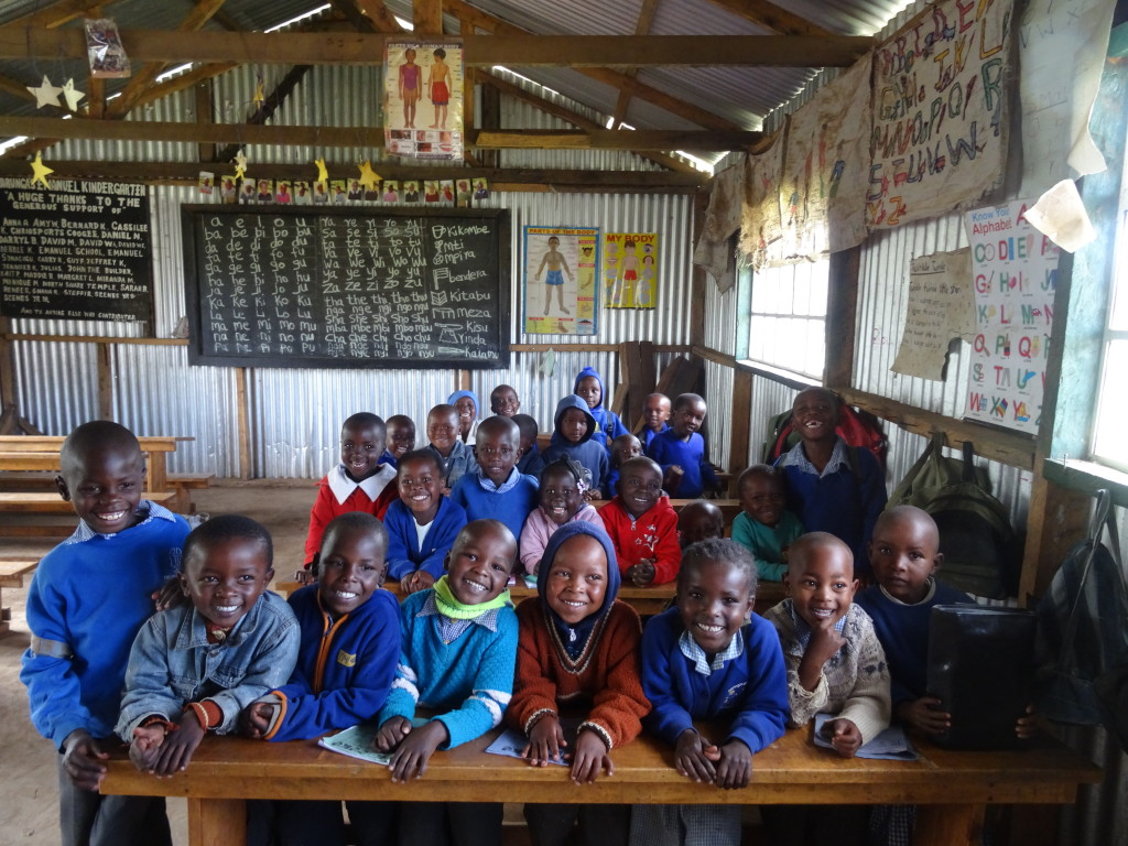 Happy children inside the new Emanuel Kindergarten class room..