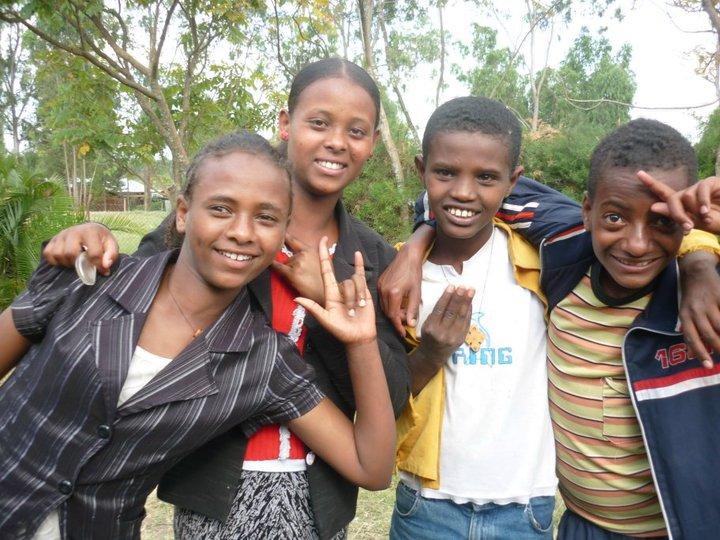 Deaf Ethiopian children signing I LOVE YOU.