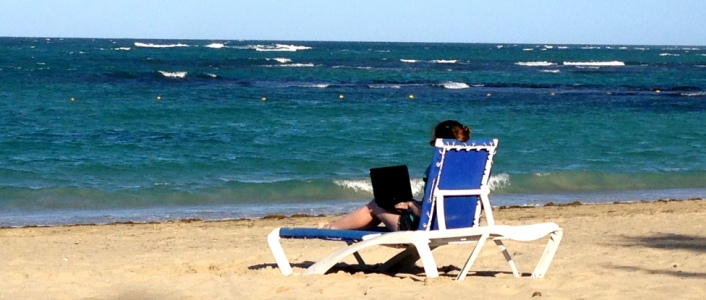 Laptop Lifestyle - Sharon working on the beach