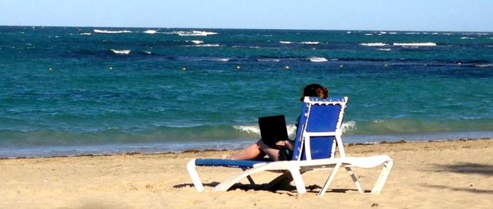 Laptop Lifestyle - Sharon working on the beach
